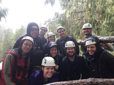 Zip Lining – In hindsight I should not have worn a denim jacket, there was hail and lots of rain involved!