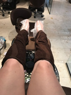 Paraffin wax on my feet, lotion and warm towels on my legs.