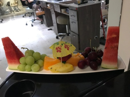 They bring out fresh fruit.