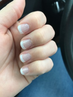 This is my favorite gel manicure look - french tips painted on and sparkles on top.